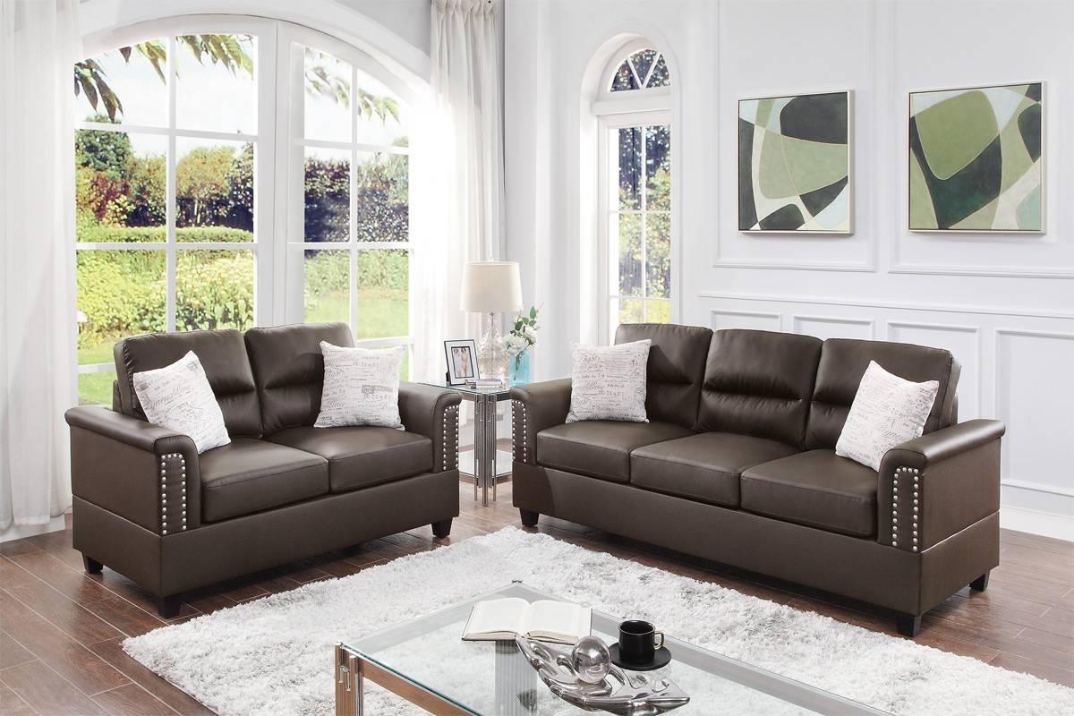 Poundex F8810 2 pc Dillion espresso faux leather sofa and love seat set