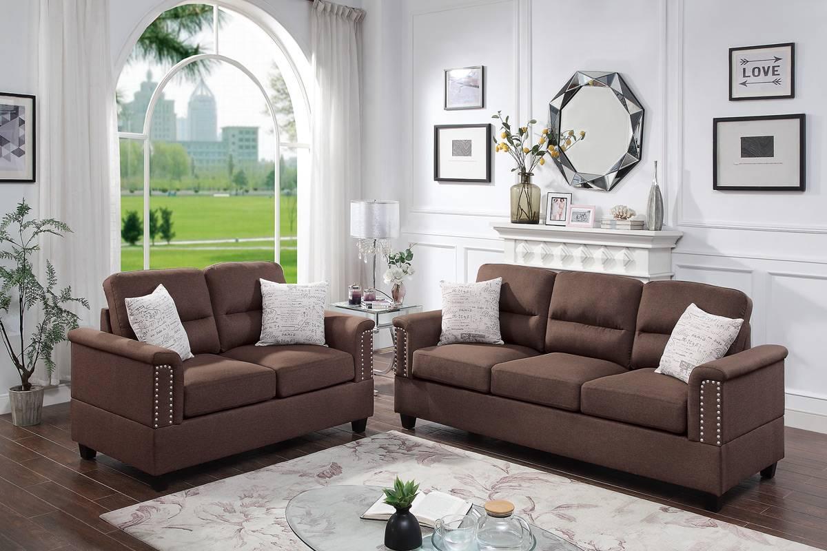 Poundex F8811 2 pc Dillion chocolate polyfiber sofa and love seat set