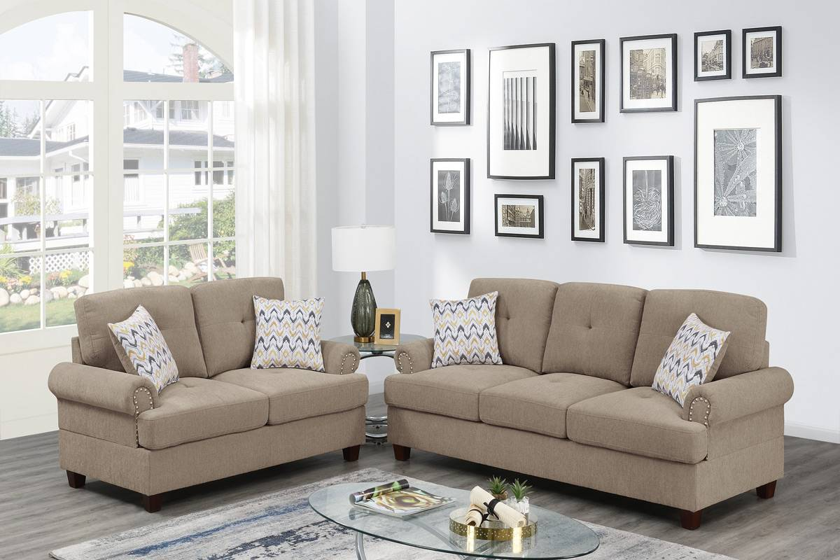 Poundex F8836 2 pc Dillion camel chenille fabric sofa and love seat set rounded arms