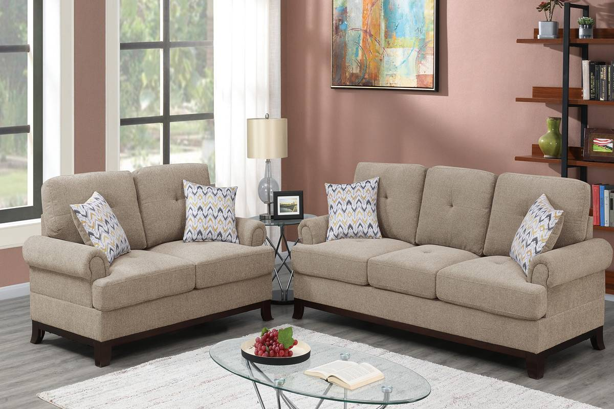 Poundex F8839 2 pc Dillion camel chenille fabric sofa and love seat set rounded arms