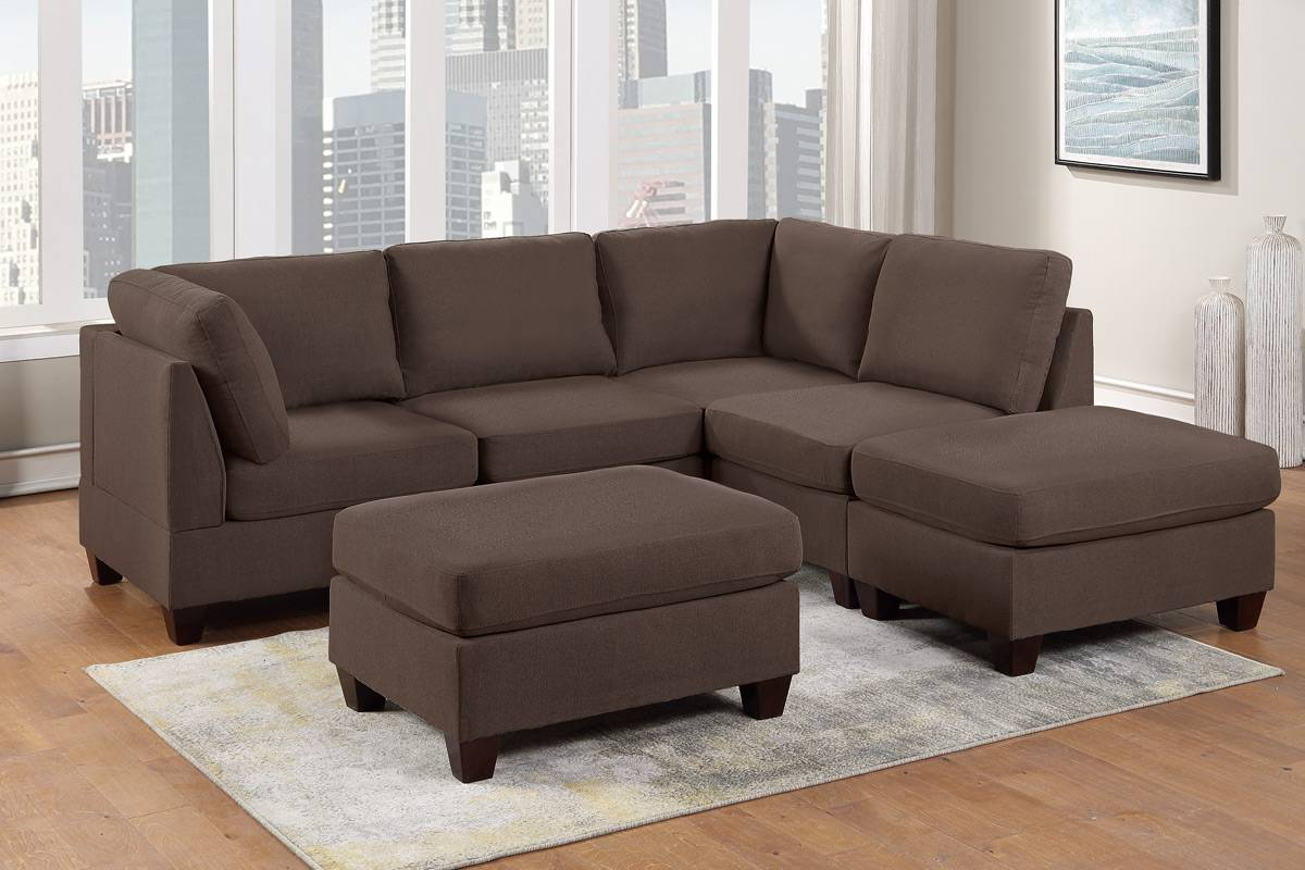Poundex F884 6 pc Latitude run mckenny black coffee linen like fabric modular sectional sofa set