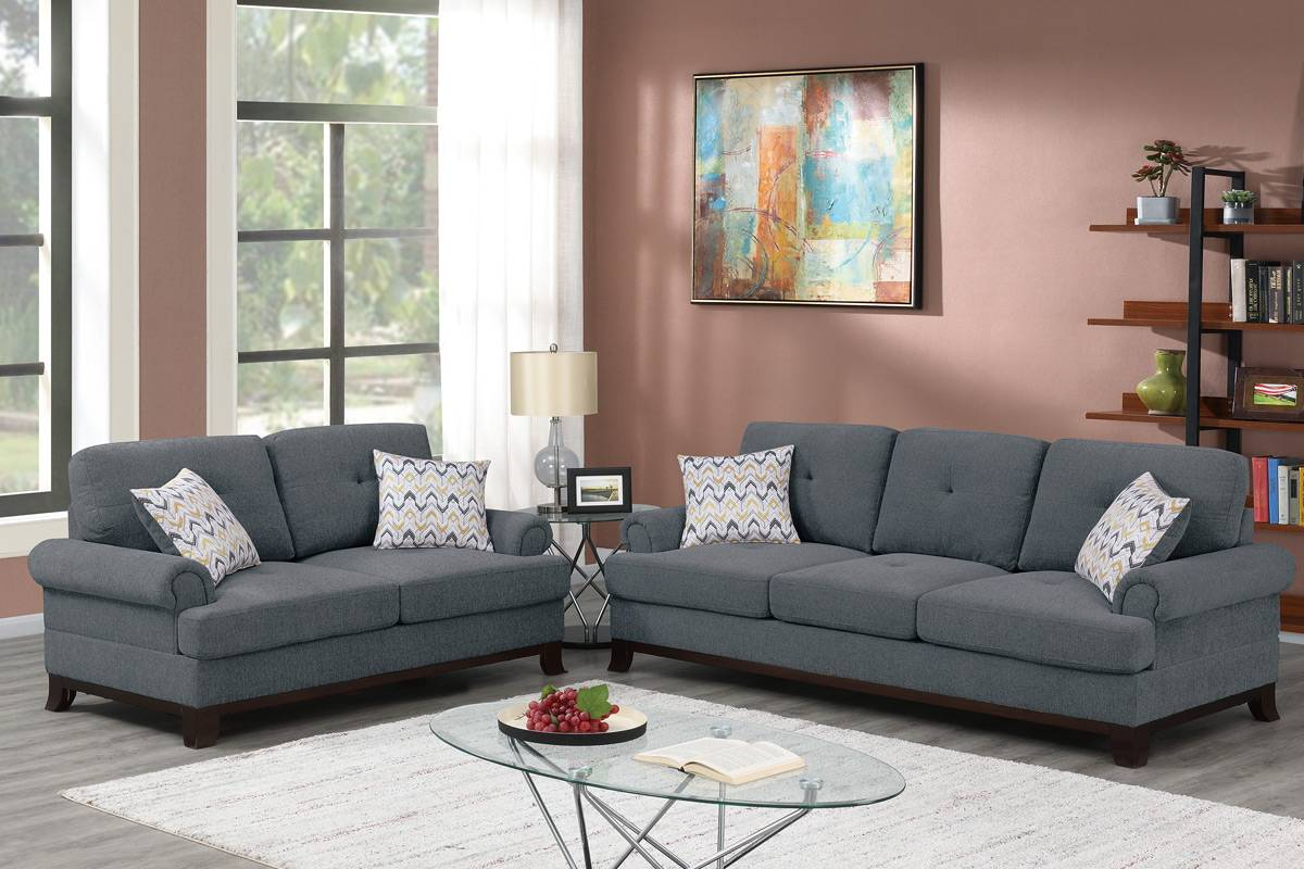Poundex F8840 2 pc Dillion ash grey chenille fabric sofa and love seat set rounded arms