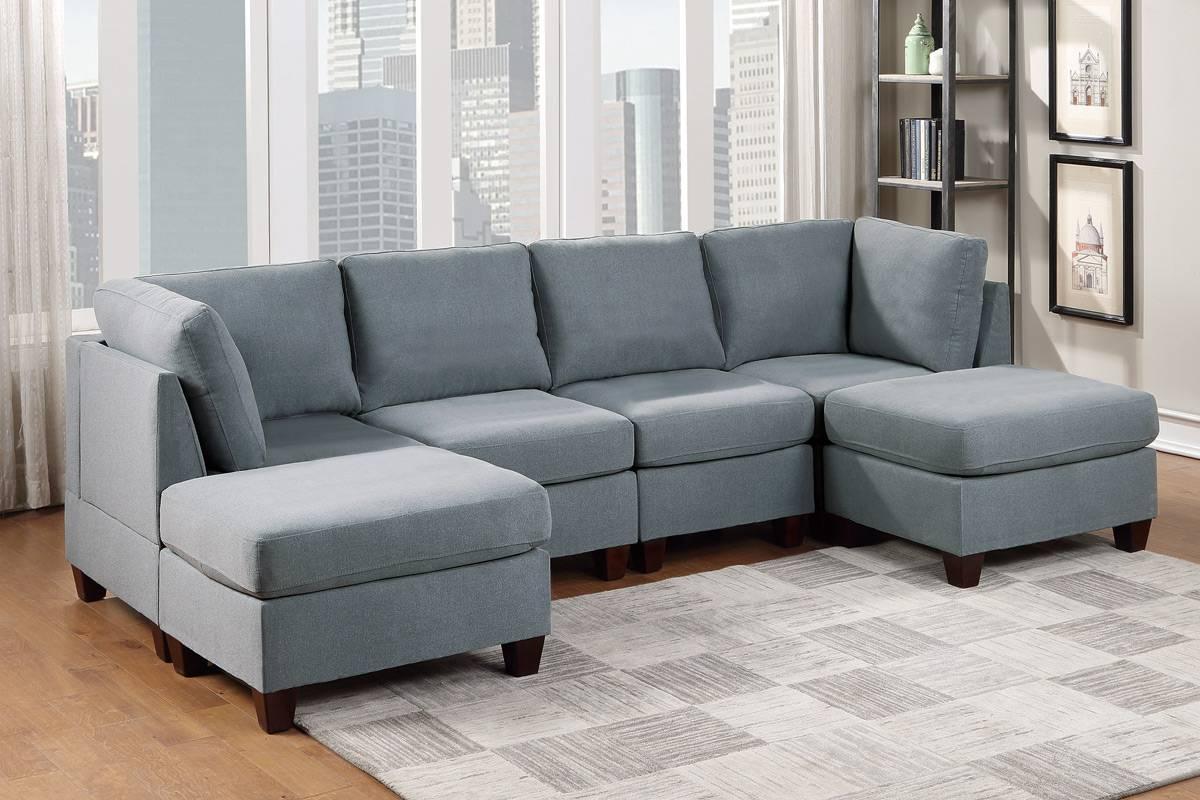 Poundex F893 6 pc Latitude run mckenny grey linen like fabric modular sectional sofa set
