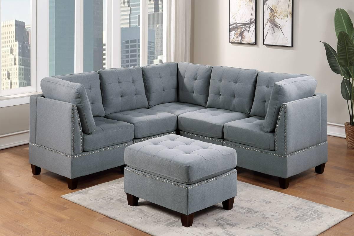 Poundex F901 6 pc Latitude run mckenny II grey linen like fabric tufted modular sectional sofa set
