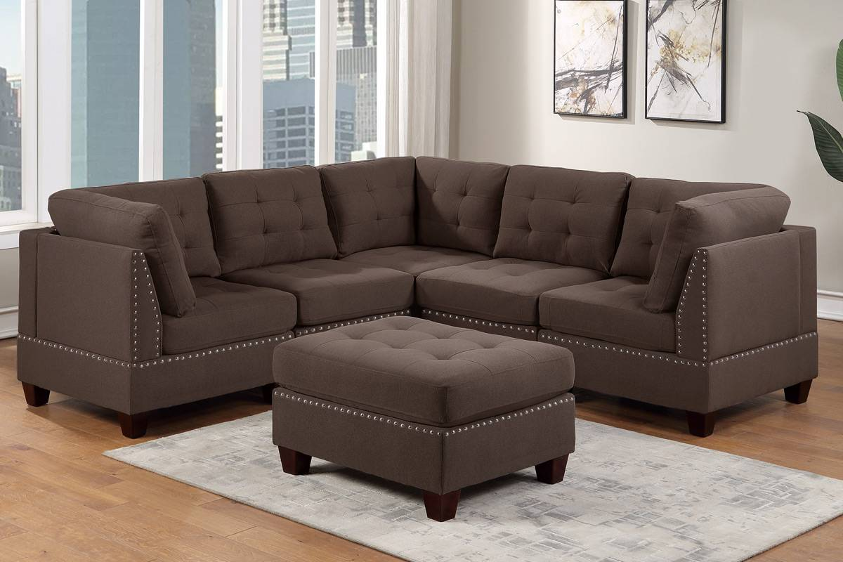 Poundex F903 6 pc Latitude run mckenny II black coffee linen like fabric tufted modular sectional sofa set