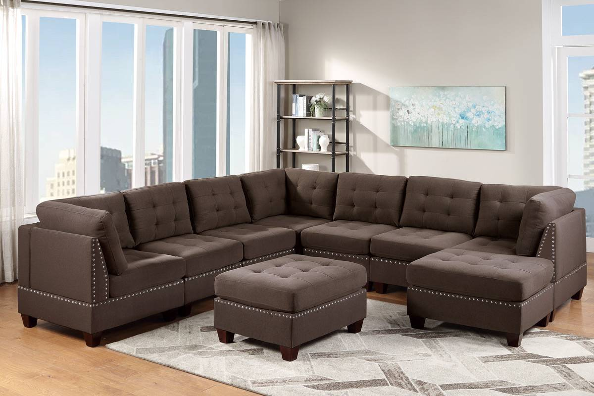Poundex F907 9 pc Latitude run mckenny II black coffee linen like fabric tufted modular sectional sofa