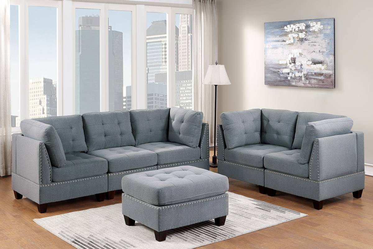 Poundex F910 6 pc Latitude run mckenny II grey linen like fabric tufted modular sectional sofa set