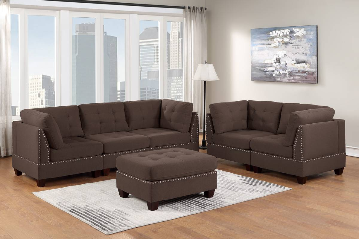 Poundex F912 6 pc Latitude run mckenny II black coffee linen like fabric tufted modular sectional sofa set