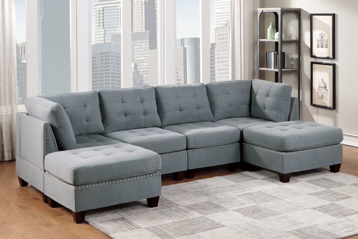 Poundex F913 6 pc Latitude run mckenny II grey linen like fabric tufted modular sectional sofa set