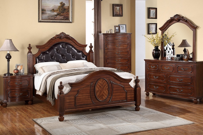 F9142Q5pc 5 pc Bethany collection cherry finish wood queen tufted brown faux leather padded headboard bed set