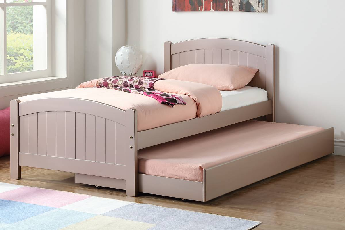 Poundex F9144 2 pc Trista rose gold finish wood twin trundle bed
