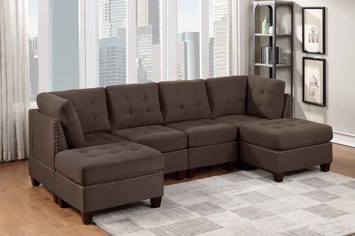 Poundex F915 6 pc Latitude run mckenny II black coffee linen like fabric tufted modular sectional sofa set
