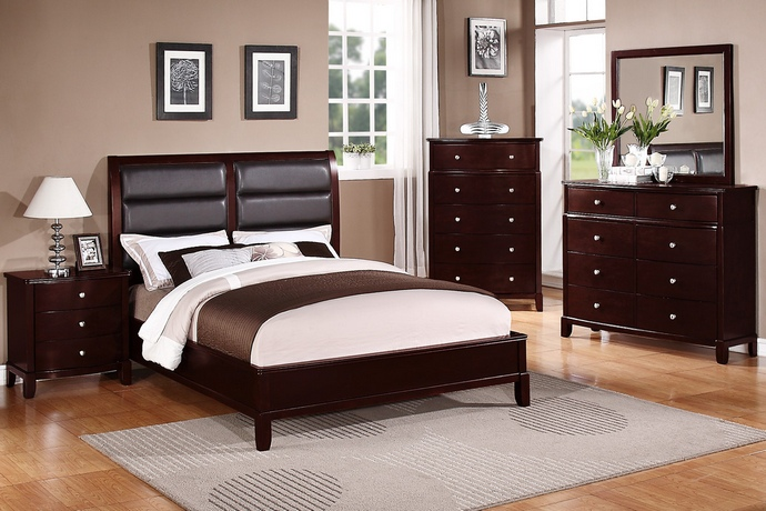 F9175 5 pc Manhattan II collection traditional style medium cherry finish wood queen bed set