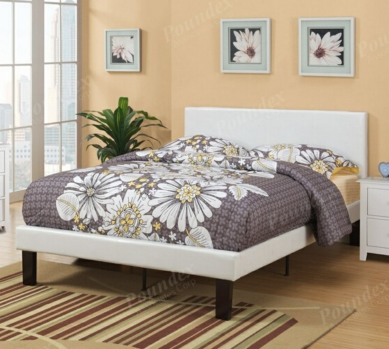 F9212T1 Bernadette collection white faux leather headboard twin bed