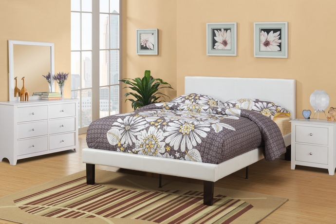 F9210F Cream faux leather padded Full size bed frame with Headboard ,13 slats and rails and footboard