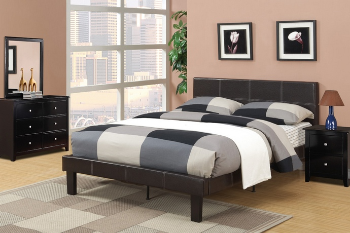 F9212F Espresso faux leather padded Full size bed frame with 13 slats and rails and footboard