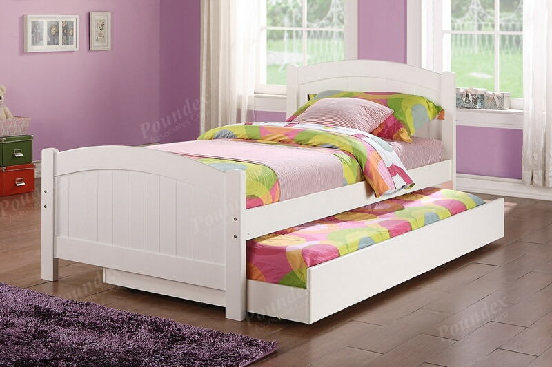 F9218 2 pc Trista collection white finish wood twin trundle bed