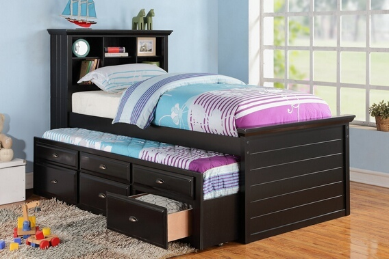 F9219 Black finish wood panel design twin trundle bed with bookcase headboard and drawers
