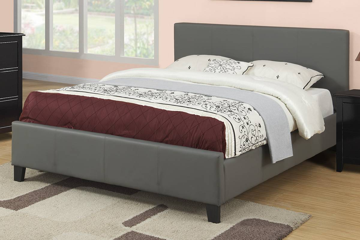 F9226Q A & J homes studio francise grey faux leather queen bed set euro slat kit included