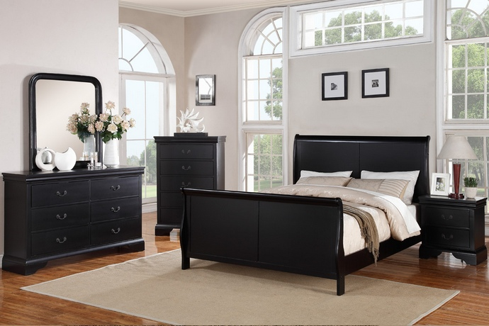 F9230 5 pc Queen Anne collection traditional style black finish wood queen bed set