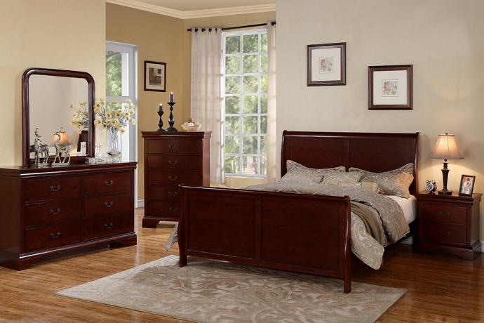 F9231 5 pc Queen Anne collection traditional style cherry finish wood queen bed set
