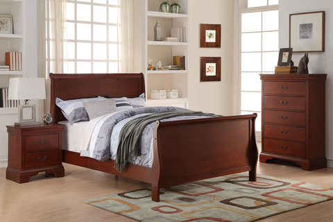 Poundex F9231T 3 pc queen anne cherry finish wood sleigh style twin / full bed set