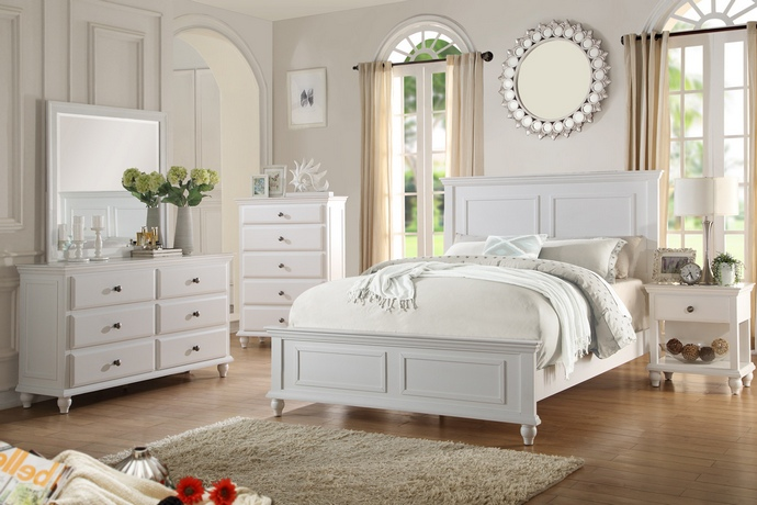 F9270 5 pc Hampton II collection traditional style white finish wood queen bed set