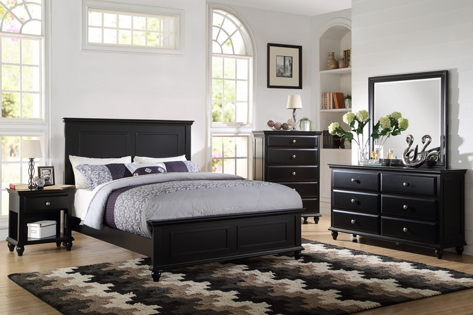 F9271 5 pc Hampton II collection traditional style black finish wood queen bed set