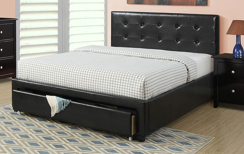 F9313Q Latitude run latimer black faux leather queen bed set with drawers euro slat kit included