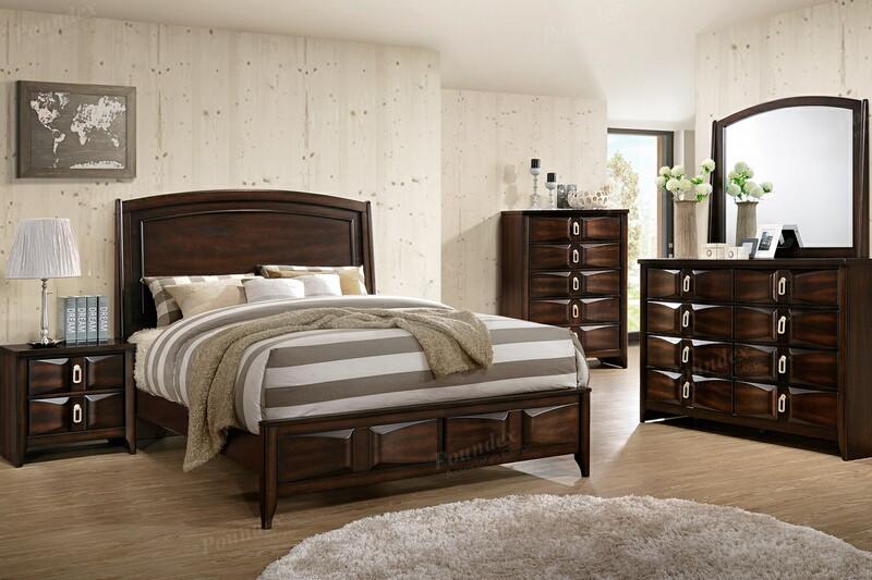 Poundex F9327Q 5 pc hampton medium cherry brown finish wood queen bed set