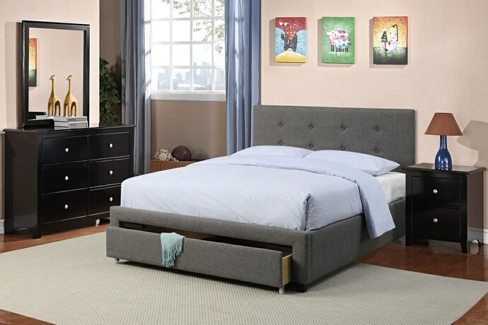 F9330Q 4 pc Patricia II collection slate faux linen upholstered and padded queen bedroom set