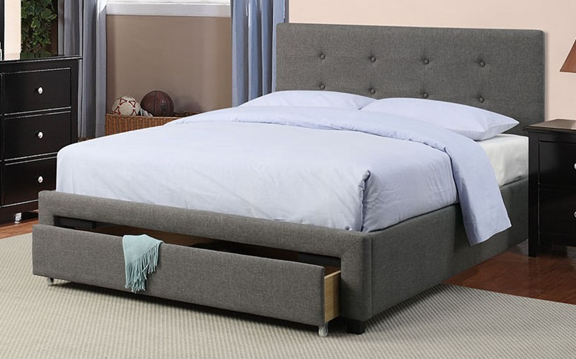 Brayden studio laidley slate polyfiber queen bed set with drawers euro slat kit included