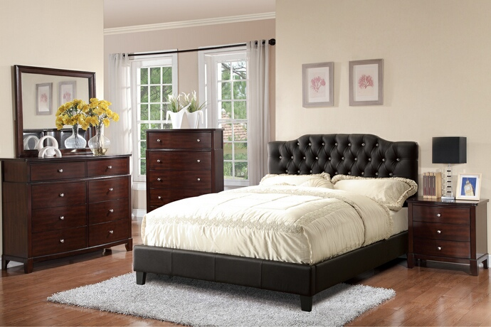 F9331Q 5 pc Proctor collection black faux leather upholstered and tufted queen bedroom set