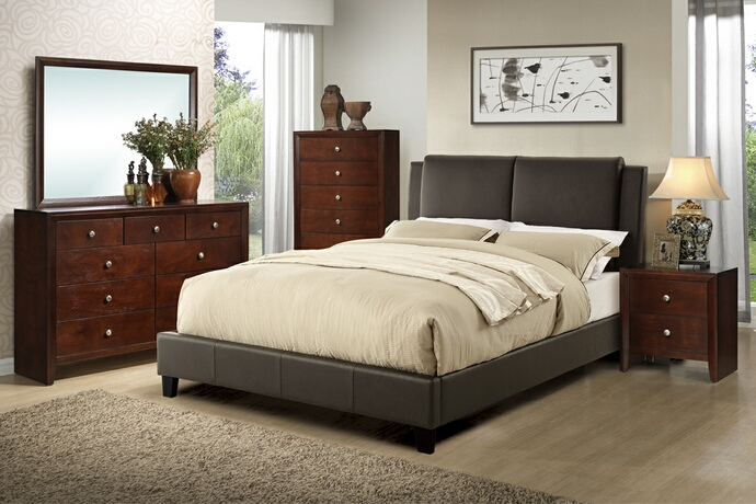 F9336Q 5 pc Proctor collection brown faux leather upholstered queen bedroom set