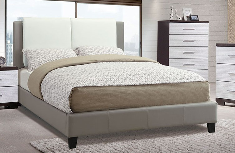 F9337Q Charlton home seth white and grey faux leather queen bed set euro slat kit included