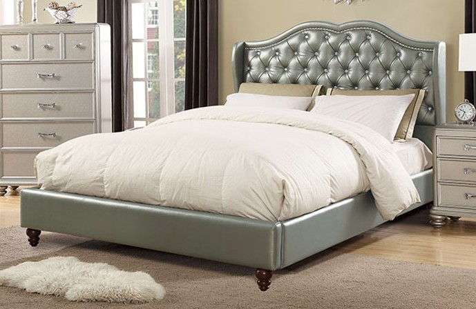 F9367Q House of hampton drowne silver faux leather queen bed set euro slat kit included