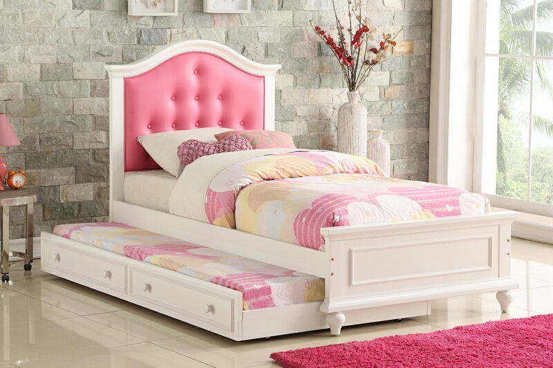 F9377 2 pc Trista collection white finish wood twin trundle bed pink tufted headboard