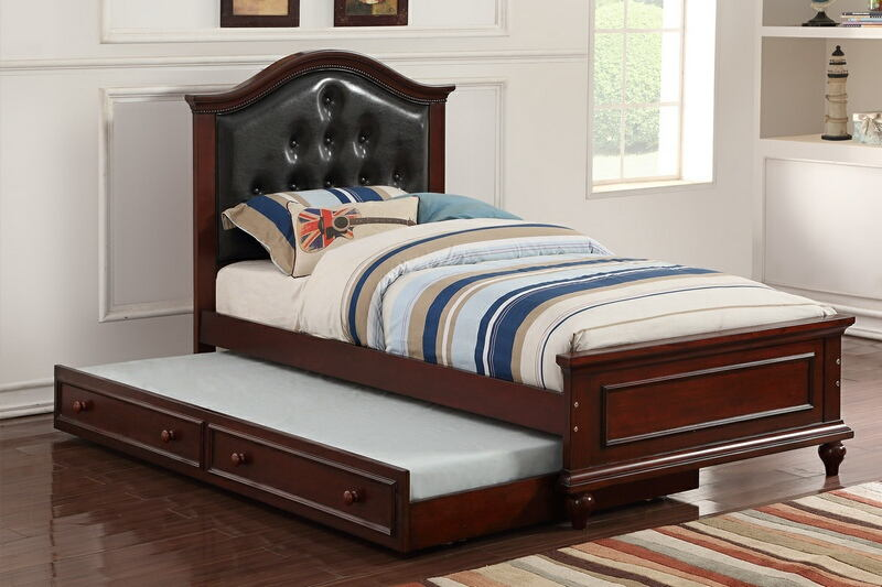 F9379 2 Pc Trista Collection Espresso Finish Wood Twin Trundle Bed