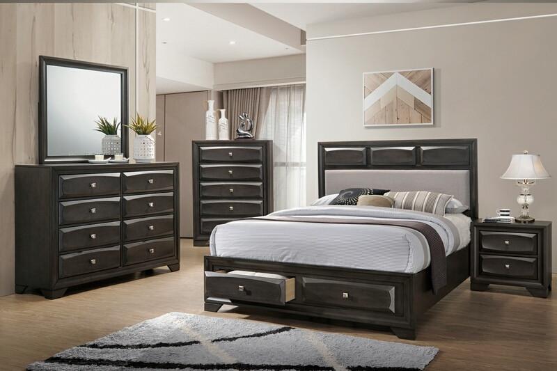 Poundex F9397Q 5 pc singleton II metallic faux leather deep espresso finish wood queen bed set