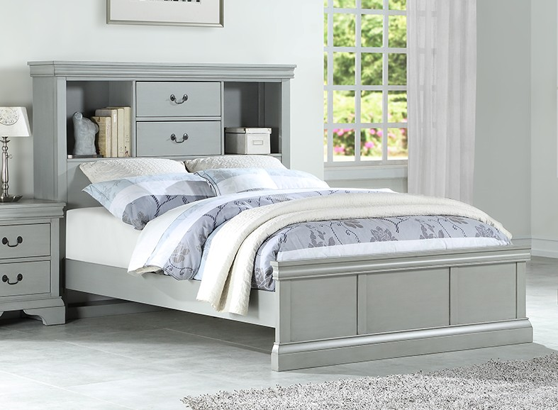 Poundex F9423F Darby home co Cinda full size platform bed bookcase headboard grey finish wood