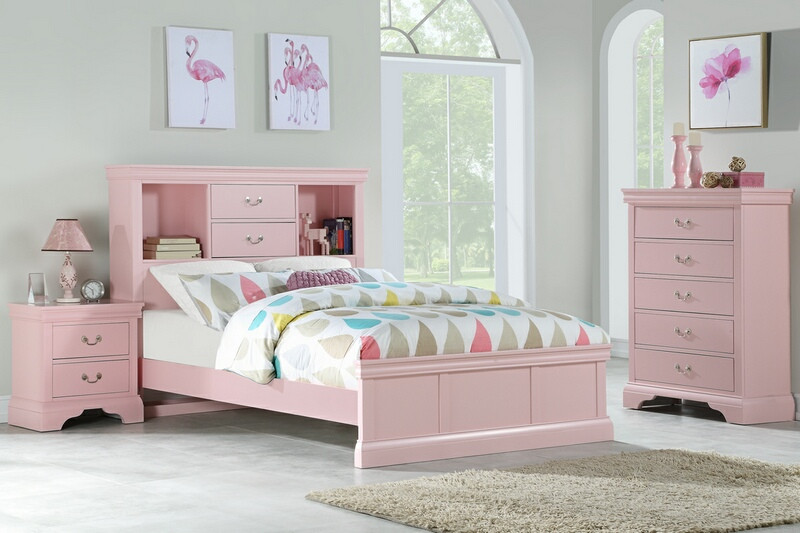 F9424t 3 Pc Bookcase Headboard Light Pink Finish Wood Twin Full