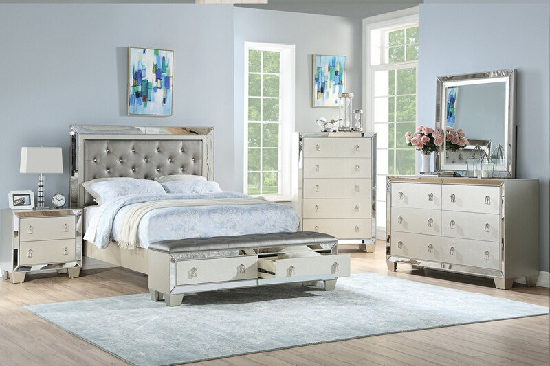 Poundex F9429Q 4 pc Marlinda silver finish wood faux leather queen bed set mirrored accents