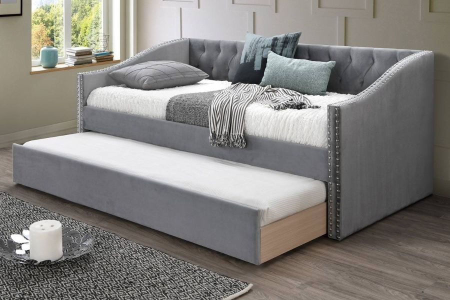Poundex F9456 AJ homes studio huntington grey velvet fabric padded twin size day bed with pull out trundle