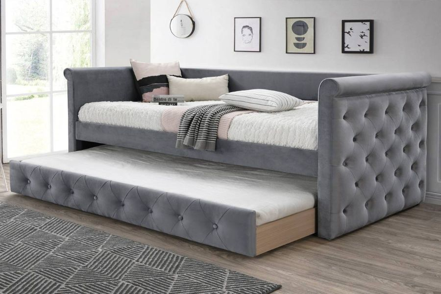 Poundex F9461 AJ homes studio huntington grey fabric padded twin size day bed with pull out trundle