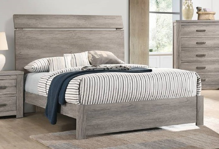 F9543Q Everly quinn kingsview washed grey finish wood queen bed set