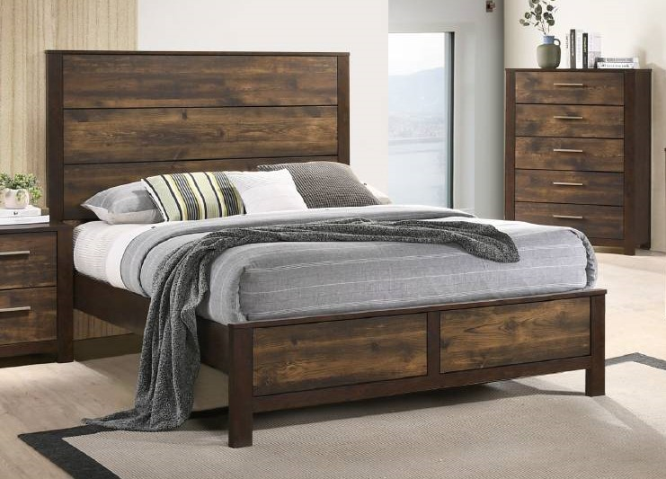 Everly quinn kingsview 2 tone brown finish wood queen bed set.