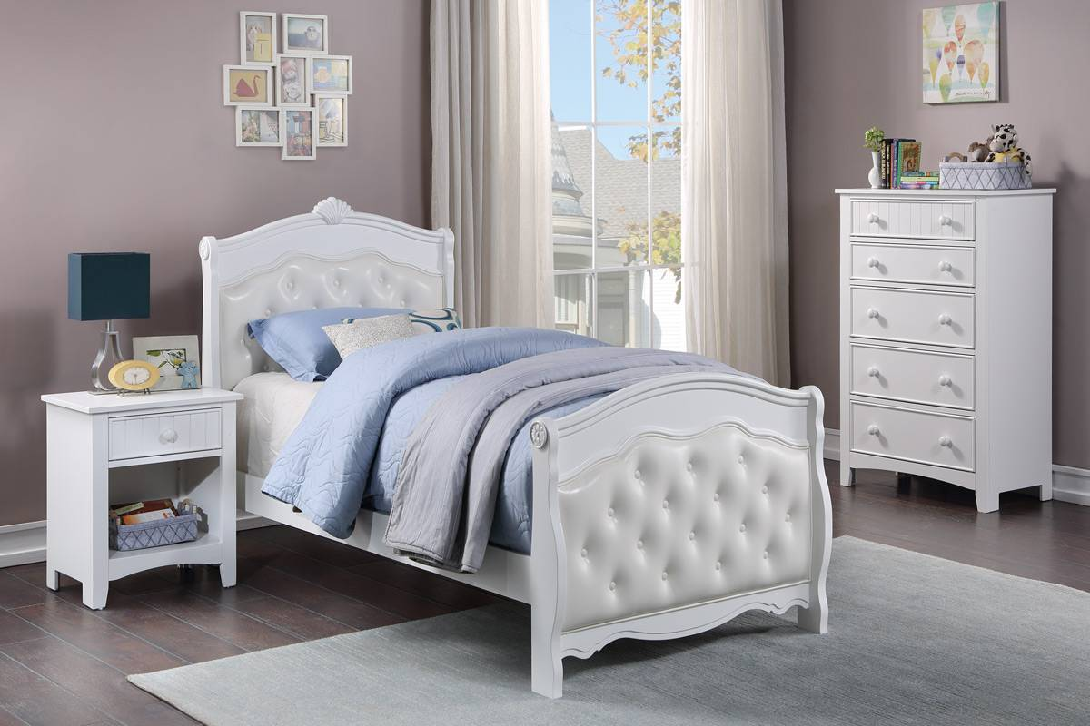 Poundex F9582T 3 pc queen anne white finish wood tufted sleigh style twin bed set