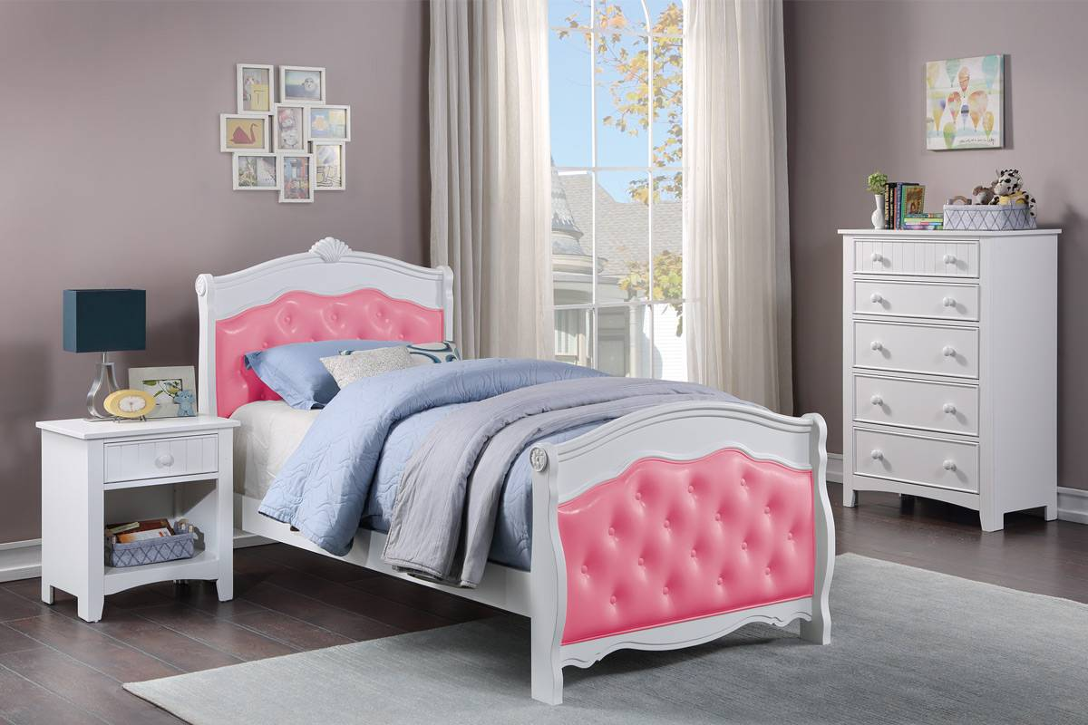 Poundex F9583T 3 pc queen anne white finish wood with pink tufted sleigh style twin bed set
