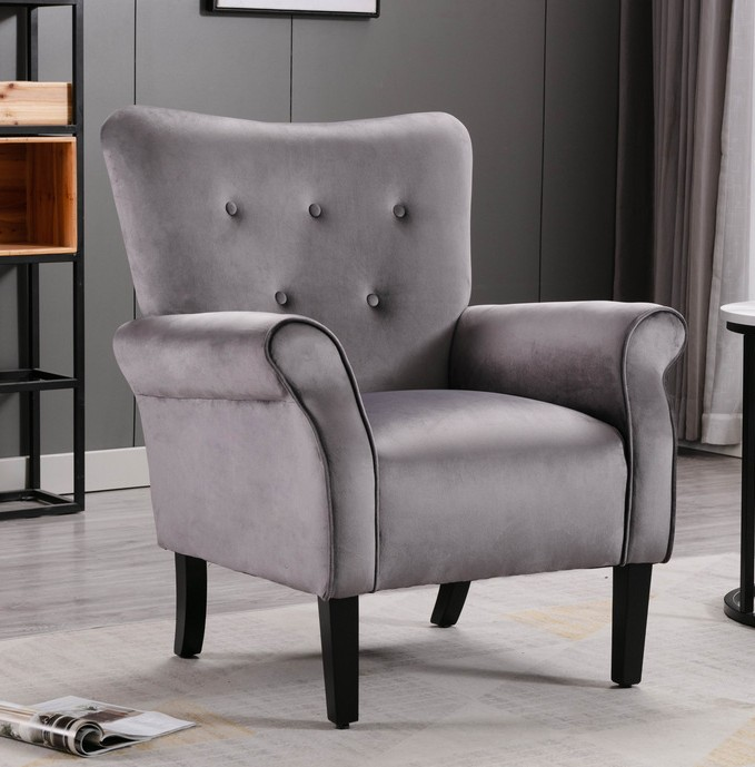Homelegance HM1177GY Red barrel studio karrell mid century modern grey fabric accent wing back chair