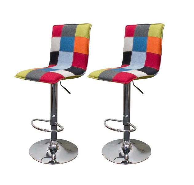 Best master HY6052-2PK Set of 2 Ebern designs roxanne multi color mid centrury modern chrome modern adjustable height bar stools
